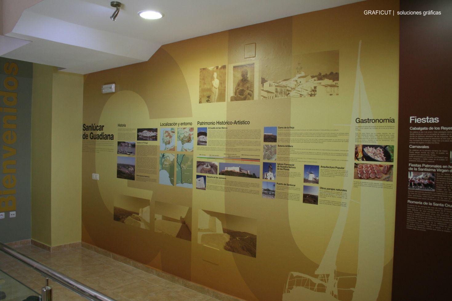 Centro de visitantes sanlucar de guadiana produccion instalacion museo impresion instalada